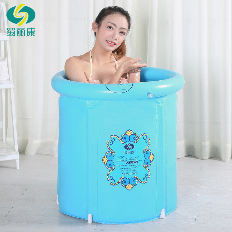 2015 Travel Pump Bottle Economic Edition Plastic Folding Bath Tub Barrel Adult Inflatable Bathtub Thickened Baby Take A Shower(China (Mainland))