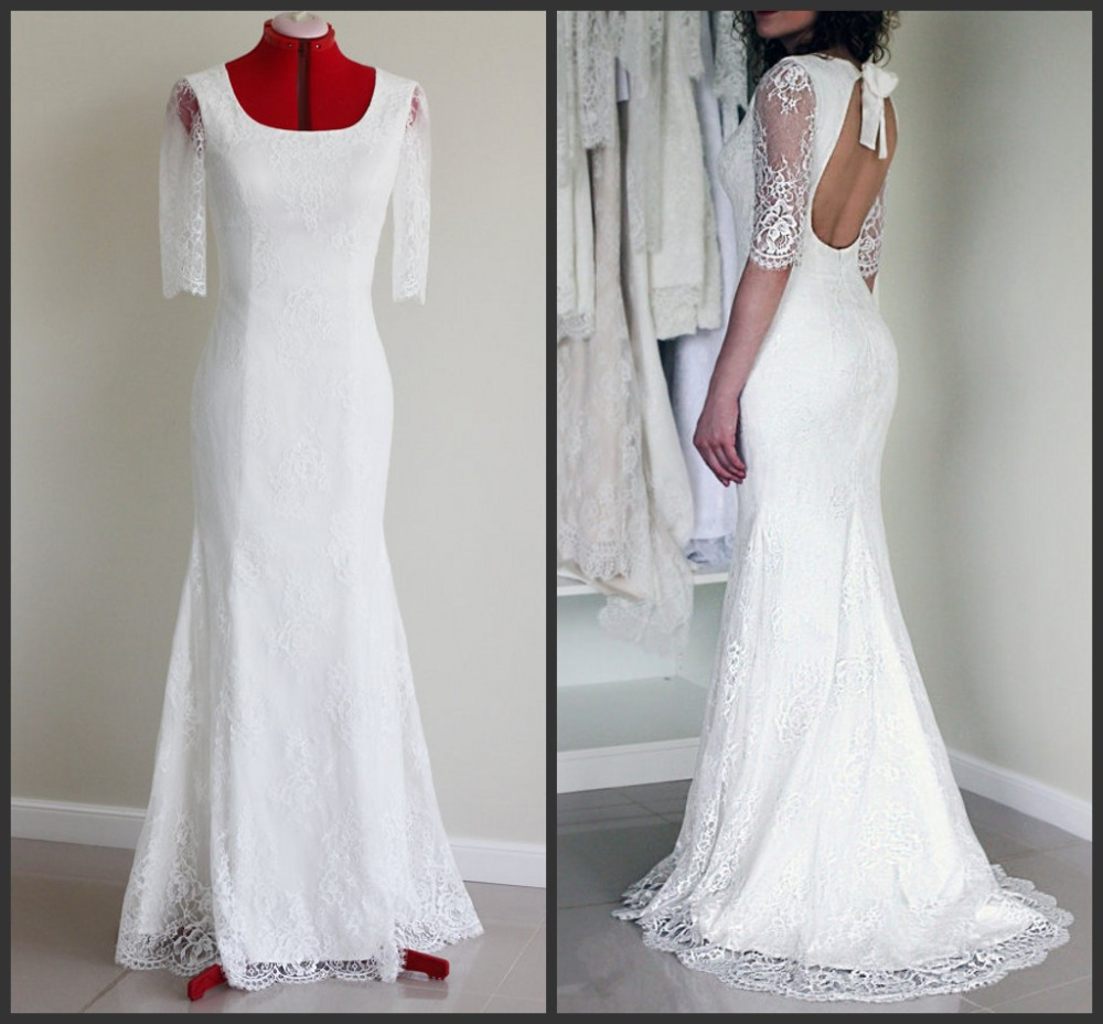 Full lace fitted sheath bridal wedding dresses scoop neck for Lace sleeve backless wedding dress