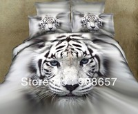 500TC gray white tiger animal printed bedding 3D oil painting comforter bed linen clothes cotton full queen quilt duvet covers