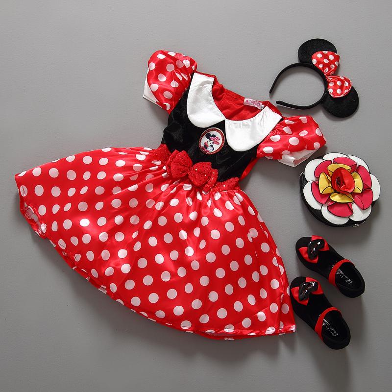 Retail Minnie Mouse Dress Mini Mouse Costume Ballet Tutu Dress+Ear 2-9Y girls chiffon dress(China (Mainland))