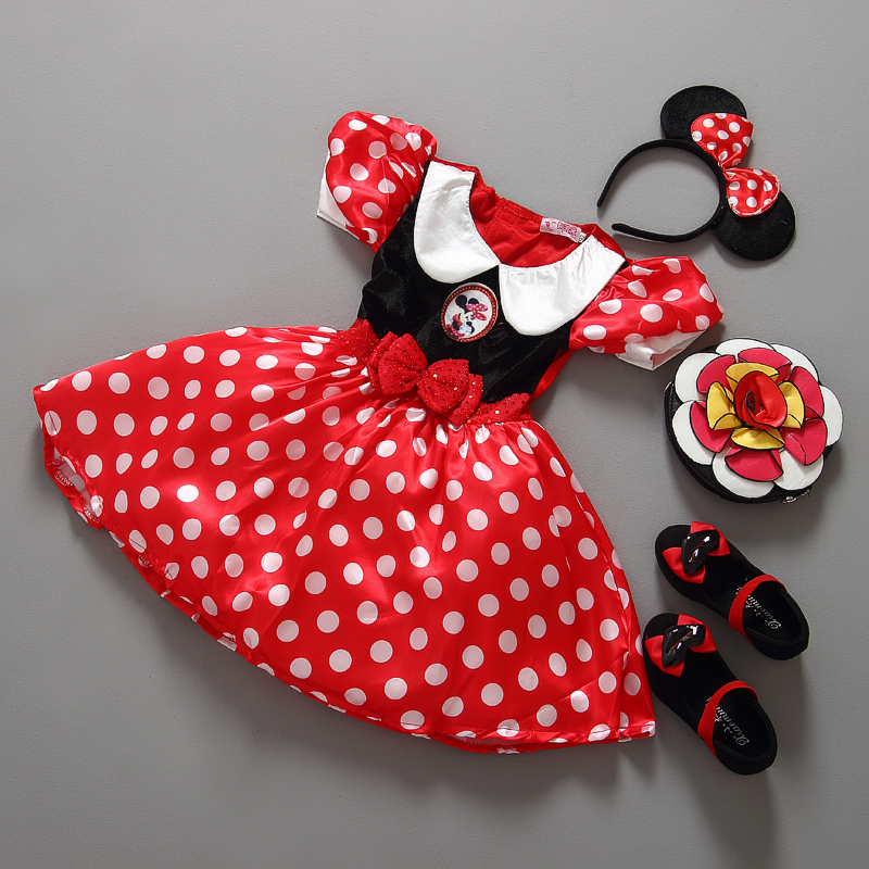 Retail Minnie Mouse Dress Mini Mouse Costume Ballet Tutu Dress+Ear 2-9Y girls chiffon dress(China (Mainland))