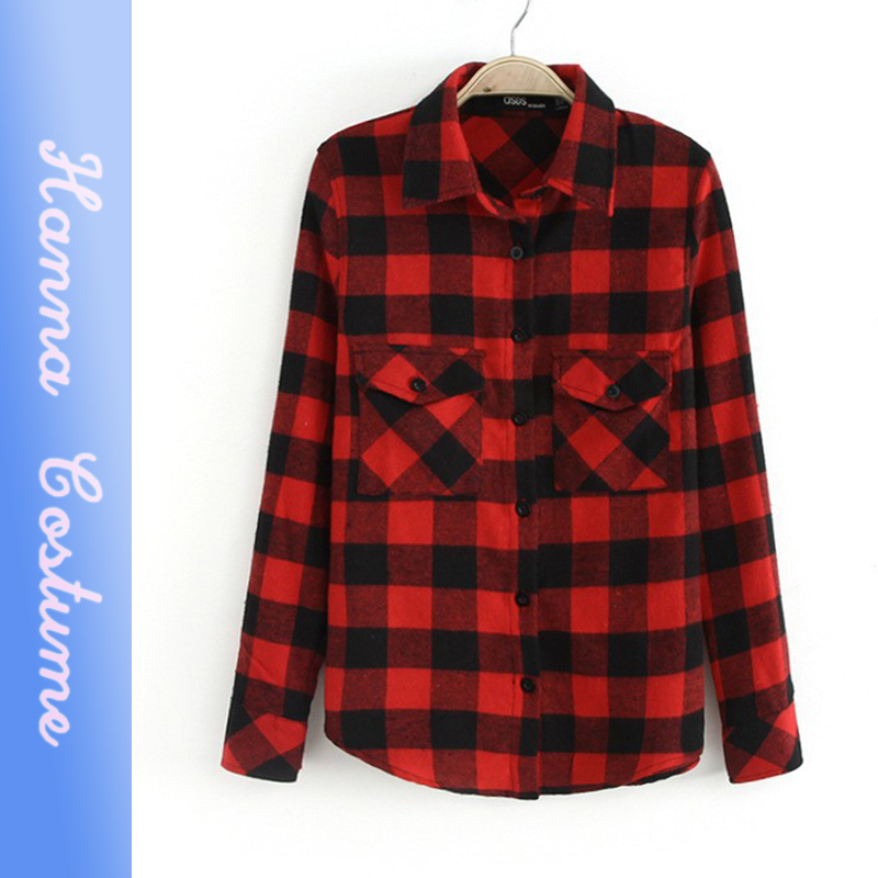 Hot simple fashion black and red plaid shirts women clothes spring and autumn long sleeve casual blouses for woman(China (Mainland))