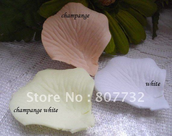 High quality artificial rose petals. white, champagne, ivory , 1200pcs/pack (150g/pack), romantic wedding,free shipping