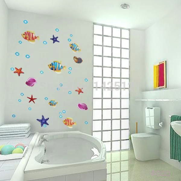 single faucet SHIPPING!!! SeaWorld color cartoon fish starfish conch removable 3d wall sticker bathroom glass tile decorative st(China (Mainland))