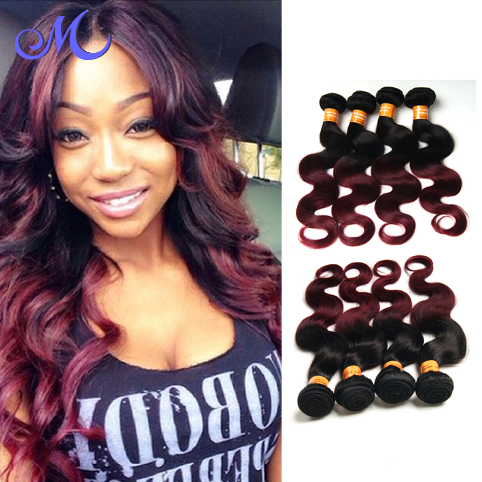 Body Wave Indian Hair Two Tone Color 1B#/Burgundy Virgin Hair Bundle Deals Cheap Indian Hair Rosa Hair Products Free Shipping<br><br>Aliexpress