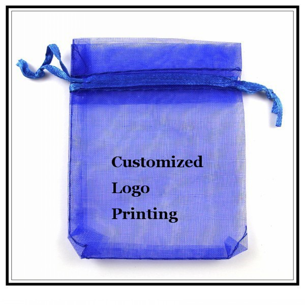 Wholesale 100pcs/lot 17x23cm Dark Blue Wedding Drawable Organza Voile Gift Packaging Bags&Pouches Can Customized Logo Printing(China (Mainland))