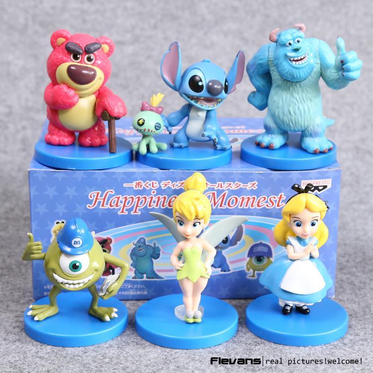 Monsters Inc Mike Wazowski Sullivan Stitch Alice Tinker Bell PVC Action Figures Collectible Model Toys Dolls 6pcs/set DSFG318 <br><br>Aliexpress