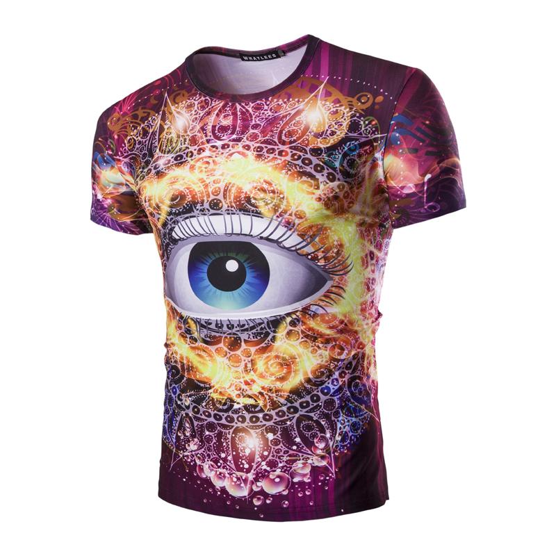 2016 Men Summer t-shirt 3D Printed Colorful Decorative Pattern t shirt Fashion Design 3d eyes logo tshirt men short sleeve(China (Mainland))
