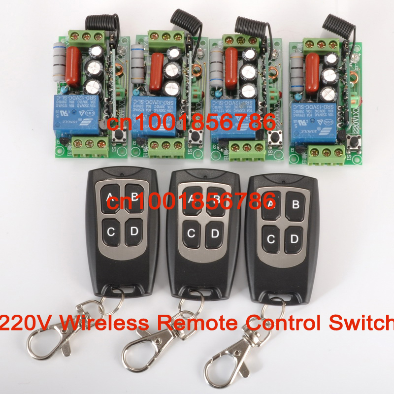 wireless Power Switch System 4 Receiver&3Transmitter 220V 1CH 10A output state is adjusted 1CH 1000W Non-Latched/self-Latched(China (Mainland))