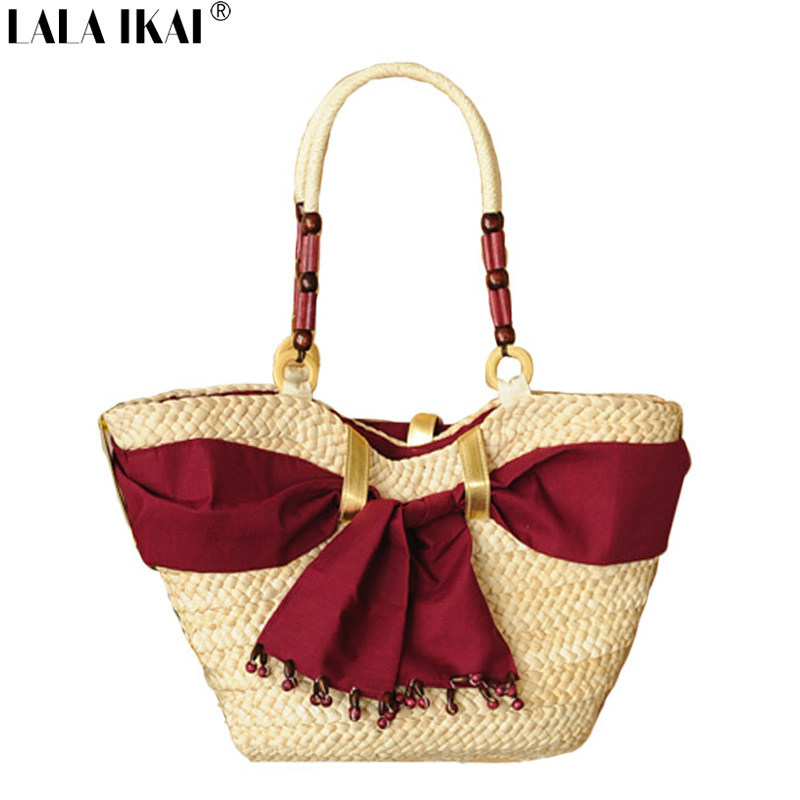 Fashion Straw Beach Bag Summer Weave Woven Women Shoulder Bags Beach Bag Straw Handbags with Ribbons BWA0238-7