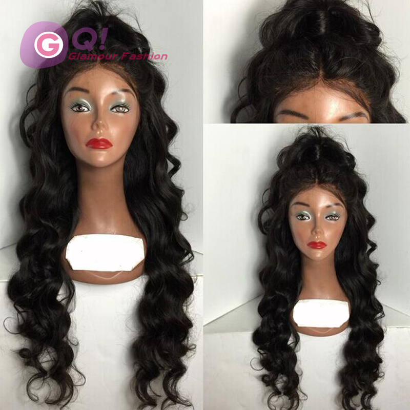 Фотография GQ 130 Density Glueless Lace Front Human Hair Wig Virgin Hair Peruvian Body Wave Full Lace Wig With Baby Hair For Black Women