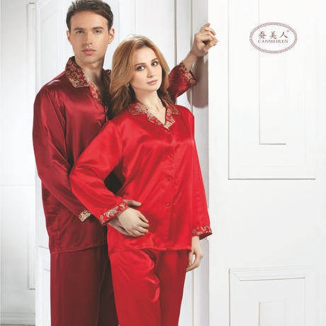 Wholesales Chinese Best Heavy silk pajama sets for couples pijama 100% natural silk sleepwear lovers marriage wedding(China (Mainland))
