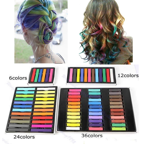 6 pcs  Easy Temporary Colors Non-toxic Hair Chalk Dye Soft Hair Pastels Kit  Free Shipping