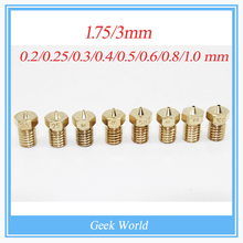 3D printer E3D V6&V5 J-Head brass nozzle extruder nozzles 0.2/0.25/0.3/0.4/0.5/0.6/0.8/1.0 mm For 1.75/3.0mm supplies