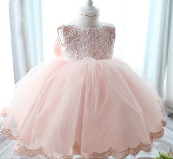 Full Month Year Infant Baby Girls Dresses For 2015 New Arrival High Quality %100 Actual Photo Party Christening Princess Dresses(China (Mainland))