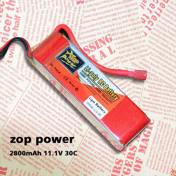 Original ZOP POWER 11.1V 2800mAh 3S 30C T Plug RC LiPo Battery AKKU For Trex 450 Helicpter 6CH WALKRA Original(China (Mainland))