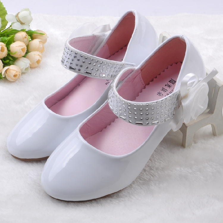 Children Shoes Girls Lace Flower White Black Princess Leather Shoes Wedding Party Dance Shoes Girls High Heeled Leather Shoes