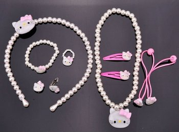 Cheap Jewelry Bauble Hello Kitty Necklace Bracelet Ring Earrings Hair Accessories 7PC Kid Jewelry Set 2 Colors Retail FKJ0037