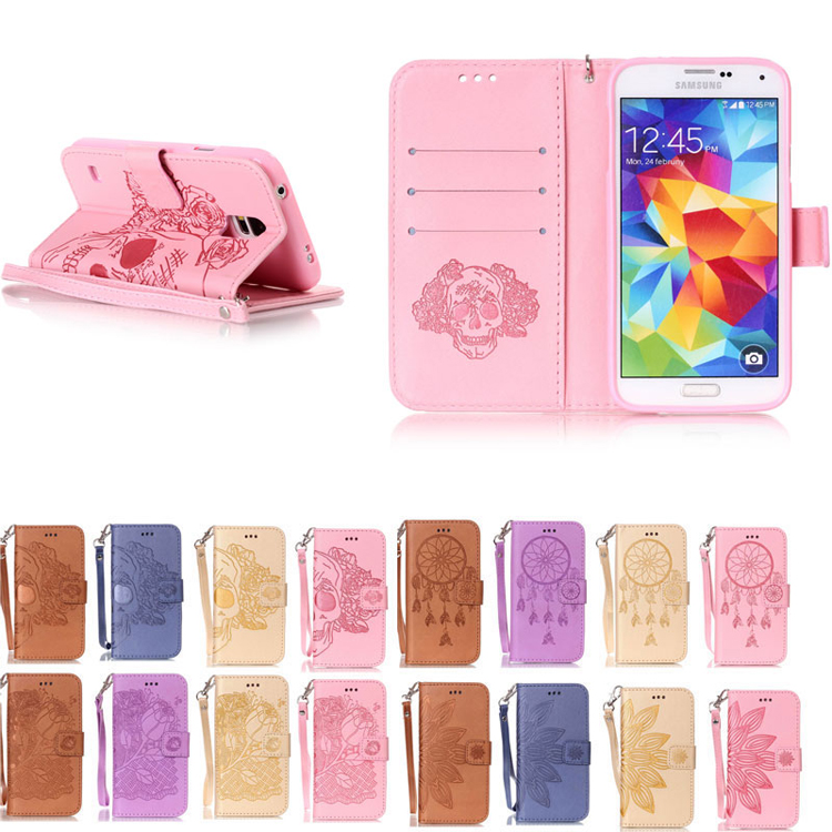 3D Pressed PU Leather Case For Samsung Galaxy S2/S3/S4/S5 mini/i9300/i9500 Dreamcatcher Flip Wallet Stand Cover phone cases(China (Mainland))
