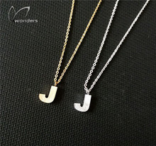 1PCS Initial Letter Name J Pendant Chain Men's Necklace Woman Gold Silver Steel Jewelry Christmas 2015 Lovely Gifts(China (Mainland))
