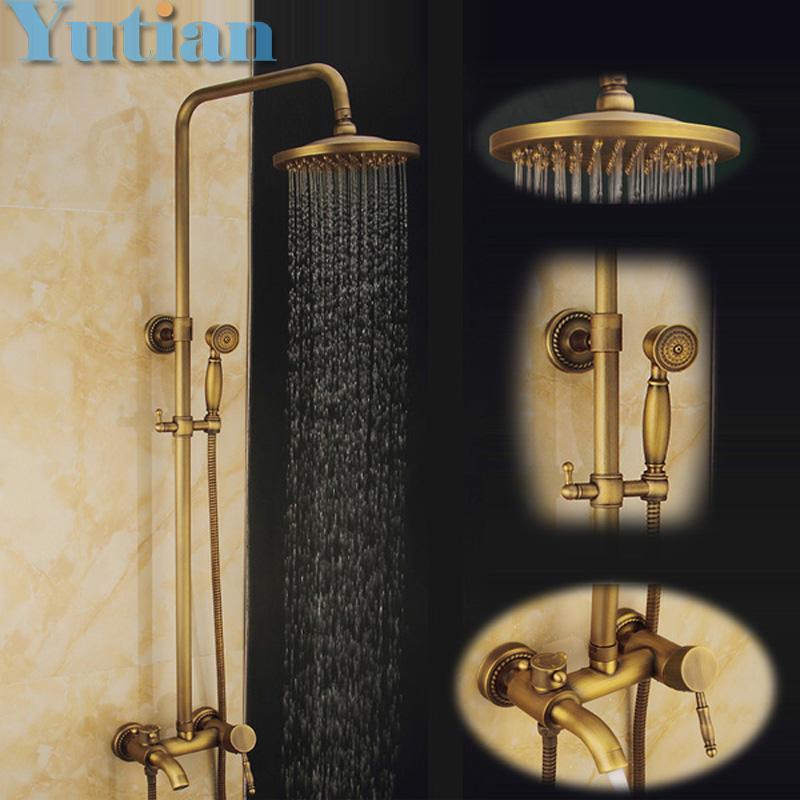 Wall Mounted Mixer Valve Rainfall Antique Brass Shower Faucet Complete Sets 8 Brass Shower