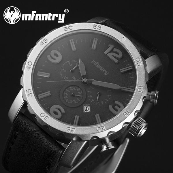 INFANTRY Miyota Movement Men Quartz Wrist Watch Black Dial Flyback Chronograph Watch 30m Waterproof Sport Analog Leather(Hong Kong)