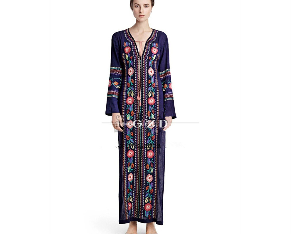 Design feminino vestido Moir Girl Women Ethnic Vintage Flower Embroidery Cotton Loose Beach Hippie Long Dresses Boho People(China (Mainland))