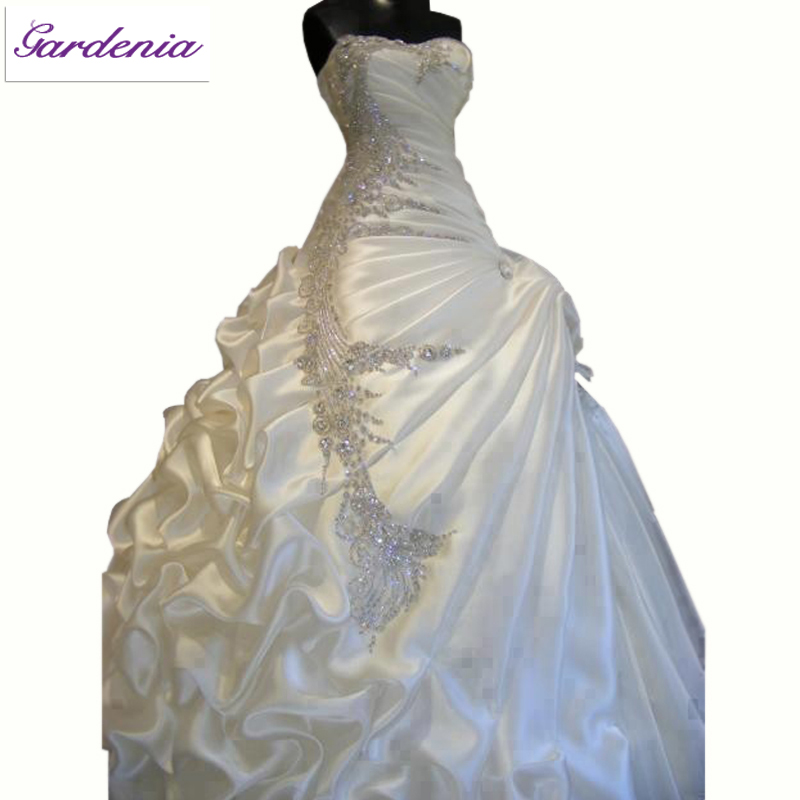 Luxurious wedding dress high quality ball gown sweetheart for High low ball gown wedding dress