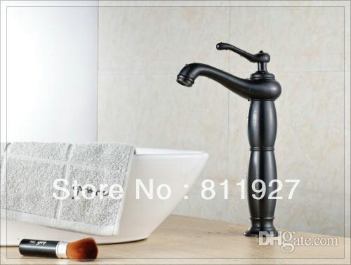 mixer antique NEW arrival style beautiful artistic oil rubbed bronze black color orb tall high wash basin hands faucet mixer tap(China (Mainland))