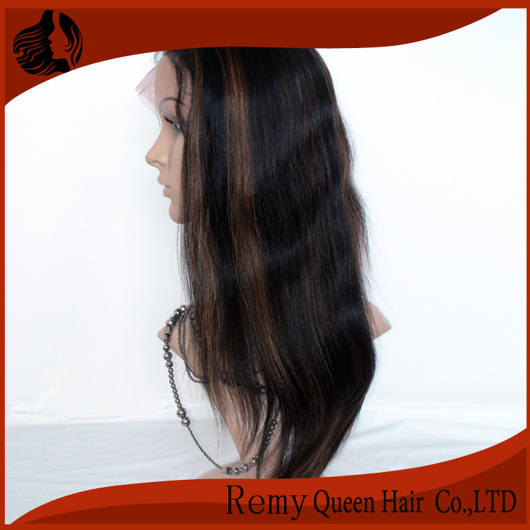"Indian Remy Glueless Full Lace Wigs For Black Women1B#/30# Highlight 8""-24"" Silky Straight 120% Density China Manufacturer Sale(China (Mainland))"