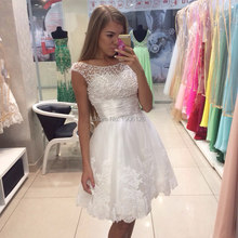 Actual Images Pearls Crystals Short White Cocktail Dresses Knee Length Zipper Cap Sleeve Party Dress Robe cocktail 2016(China (Mainland))
