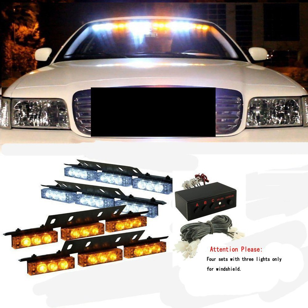 36 x ultra bright white and amber led emergency warning use flashing strobe lights bar for. Black Bedroom Furniture Sets. Home Design Ideas