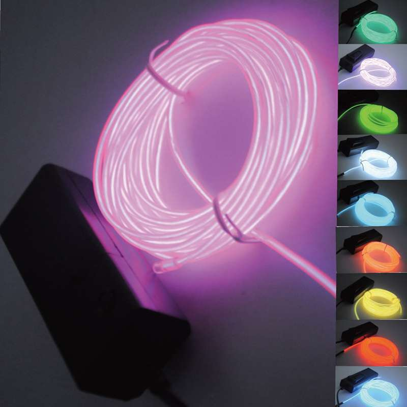 1PCS Colorful Flexible EL 1M Wire Rope Tube Neon Light Glow Party Dance Car Decorate Free Shipping(China (Mainland))