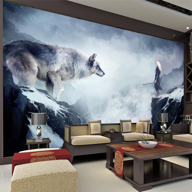 D coration chambre loup for Glace murale pour salon