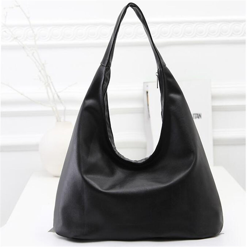 2016 New Classic Leather Black Hobos Bag Women Fashion Simple Shoulder Bag Vintage Casual Large Capacity Tote Handbag Bolso(China (Mainland))