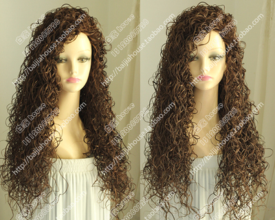 Free shipping High quality wigThreaded spring roll Curly hair Dark brown chestnut No bangs Europe and the United States forwomen(China (Mainland))