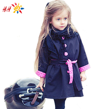 herbst winter neuem kinder kinder mädchen mode niedlich vogue Graben bowknot outwear langarm button polka parka mantel gc2039(China (Mainland))