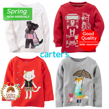 Baby Toddler Girl Cotton Long Sleeve T-shirt Carter Infant Spring Clothing Tee Top For 9m 12m 18m 24m 3T Free shipping