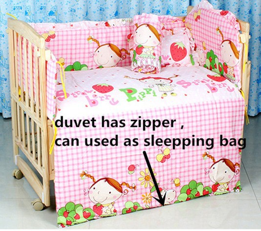 Promotion! 7PCS Embroidery Baby Bedding Set 100%Cotton Beautiful Crib Bedding Baby (bumpers+matress+ pillow+duvet)<br><br>Aliexpress