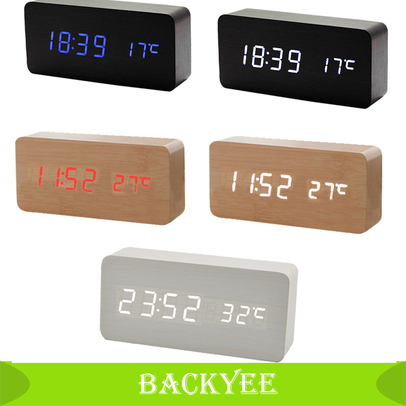 Home Office Wooden Wood Clock USB/AA Batteries Powered Digital LED Alarm Calendar Thermometer Rectangle Timer Sound Control Hot(China (Mainland))