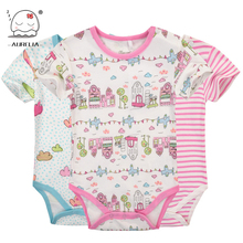Moms Care Cartoon Cotton Baby Rompers Summer Short Sleeve Baby Wear Infant Jumpsuit Boys Girls Clothes