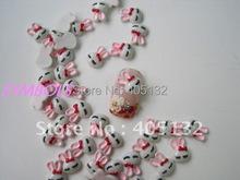 RC-108-2 200pcs/bag Cute White Sleeping Bow Rabbit Head Decoration Resin Decoration Nail Art Decorations(China (Mainland))