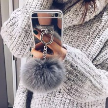 Metal Rope silver Mirror TPU Tassel Back Cover rabbit fur ball For A 5 7 8 Note 2 3 4 5 S 5 6 7 EDGE G530 For 4 5 6 s plus(China (Mainland))