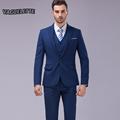 Blazer Pants Vest Costume Mariage Homme Skinny Solid Blue Business Mens Clothing Vintage Formal Men