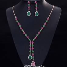 18K Gold Plated Emerald And Ruby Stone CZ Diamond Jewelry 4 Leaf Shape Long Drop Necklace Earrings Sets For Women T225(China (Mainland))