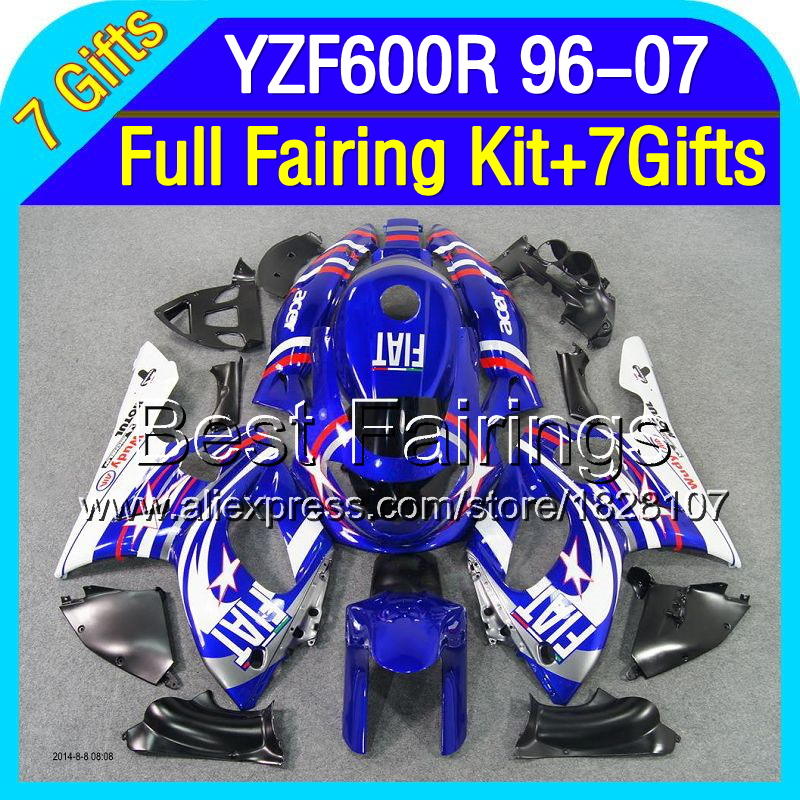 7gift+Tank For YAMAHA YZF600R 96-07 YZF600 R 2S10 YZF 600R Blue FIAT 600 1996 1997 1998 1999 2000 2001 NEW Blue white Fairing(China (Mainland))