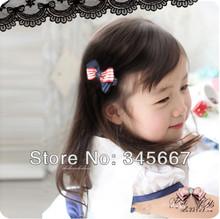 Kawaii G00D Korean children hair accessories campus wind X-type hairpin red stripes Navy