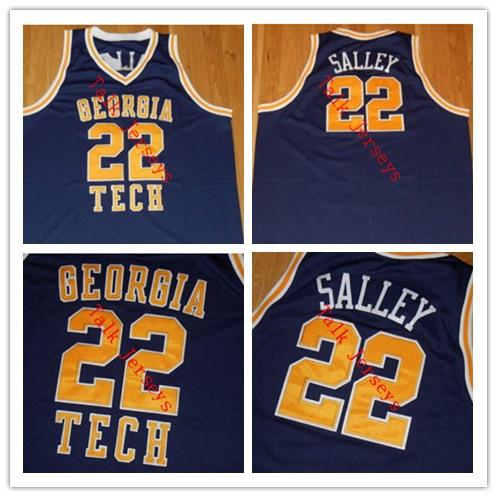JOHN SALLEY 1985-86 GEORGIA TECH YELLOW JACKETS THROWBACK JERSEY #23,custom stitched Georgia Tech basketball jersey any name(China (Mainland))