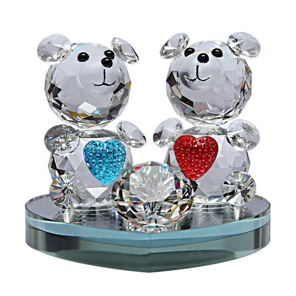 glistening crystal bear twins home office decor perfume holder car interior christmas stained. Black Bedroom Furniture Sets. Home Design Ideas
