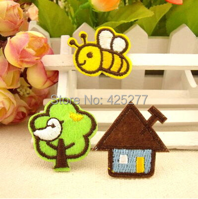 new Embroidered Cloth Iron On Patch Sew Motif Applique Bee Tree House ~9pcs 008004026(China (Mainland))